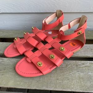 COACH Oleta Salmon Leather Gladiator Sandals 9.5